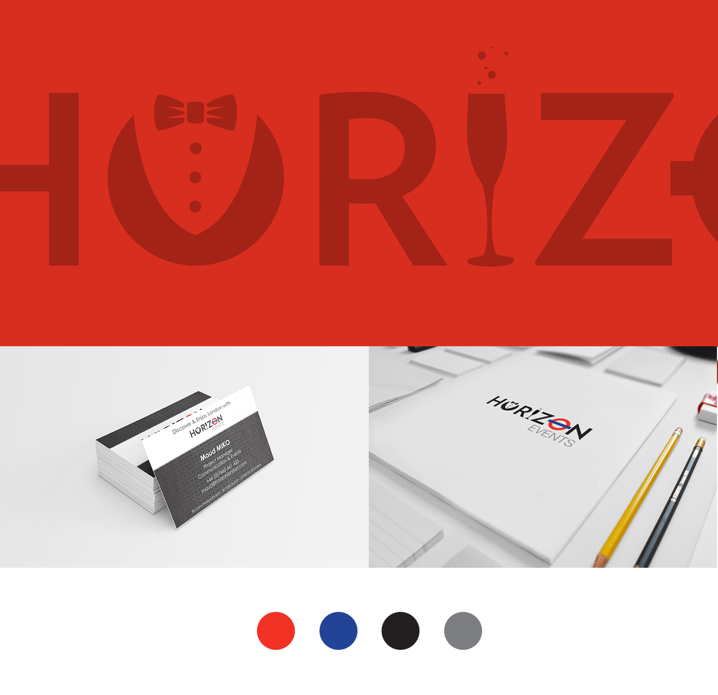 horizon events logo business card project